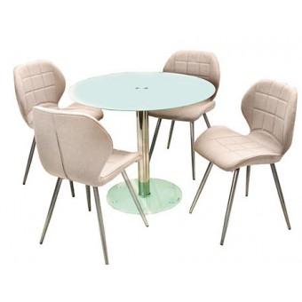 Ervin 4 személyes étkező, Nina asztallal  Fém vázas étkezők 4 személyes étkező garnitúrák