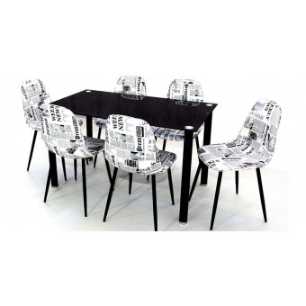 Maya 6 személyes étkező, Geri asztallal  Fém vázas étkezők 6 személyes étkező garnitúrák